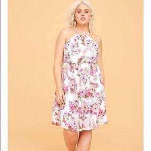 Torrid Floral Chiffon Mini Dress Size 0 White NWT